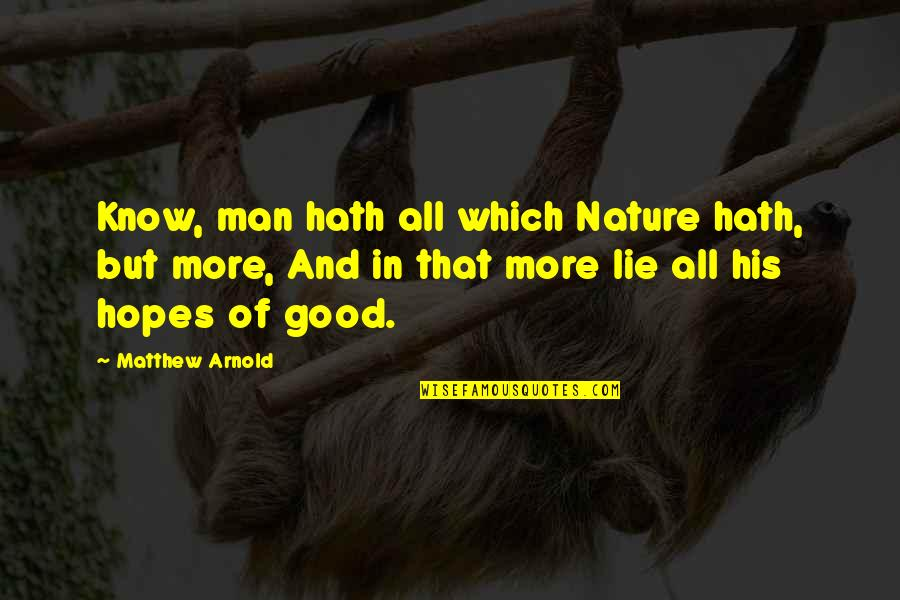 Nature And Man Quotes By Matthew Arnold: Know, man hath all which Nature hath, but