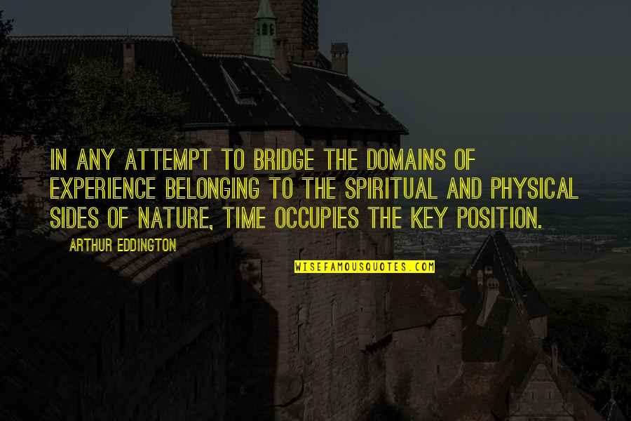 Nature And Spiritual Quotes By Arthur Eddington: In any attempt to bridge the domains of