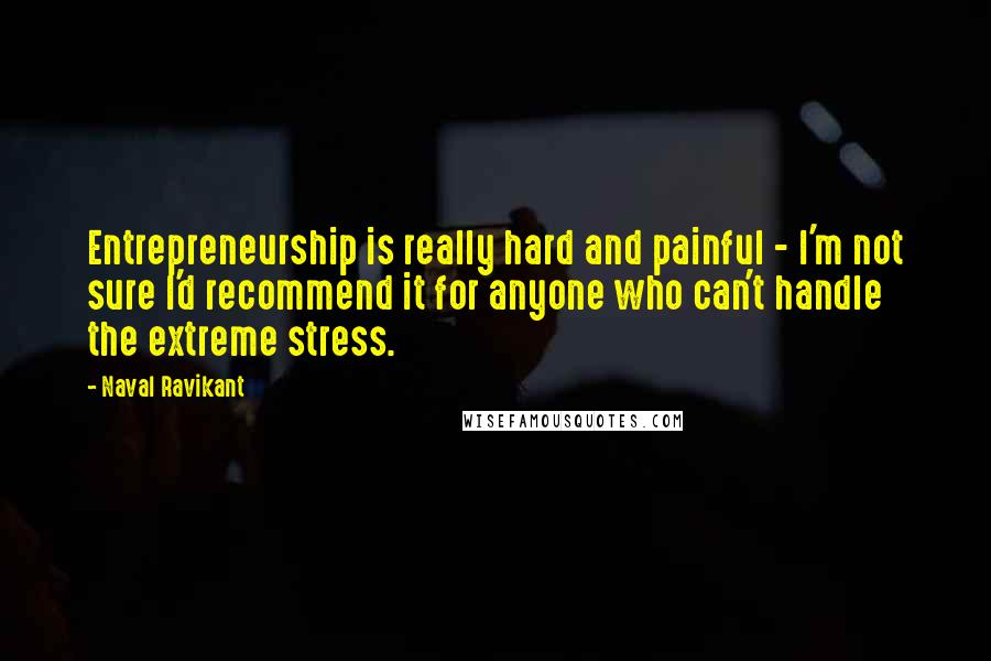 Naval Ravikant quotes: Entrepreneurship is really hard and painful - I'm not sure I'd recommend it for anyone who can't handle the extreme stress.