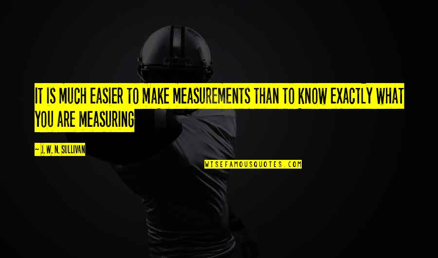 N'awlins Quotes By J. W. N. Sullivan: It is much easier to make measurements than