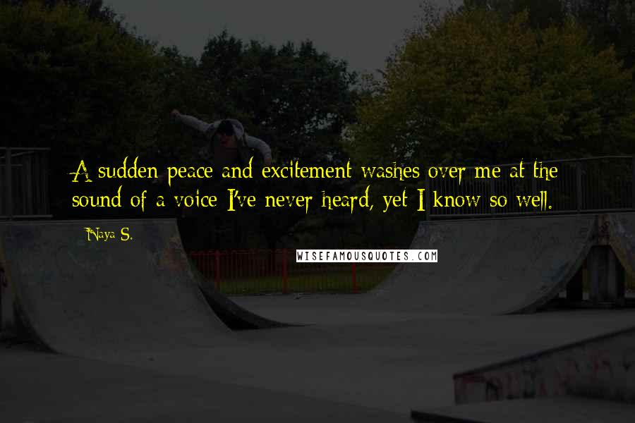 Naya S. quotes: A sudden peace and excitement washes over me at the sound of a voice I've never heard, yet I know so well.