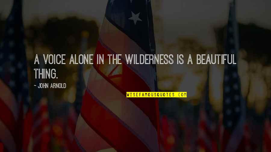 Nba Jams Quotes By John Arnold: A voice alone in the wilderness is a