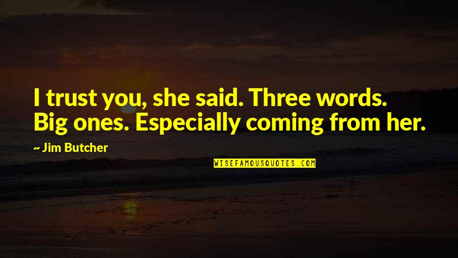 Ncis Gut Check Quotes By Jim Butcher: I trust you, she said. Three words. Big