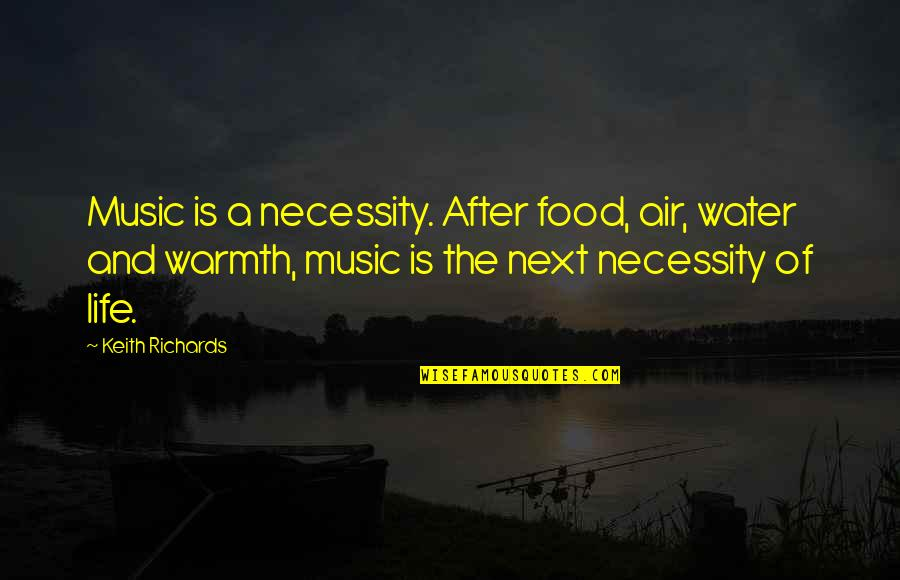Necessity Of Water Quotes By Keith Richards: Music is a necessity. After food, air, water