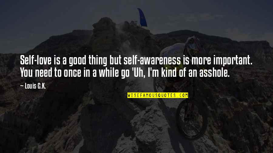 Need More Love Quotes By Louis C.K.: Self-love is a good thing but self-awareness is