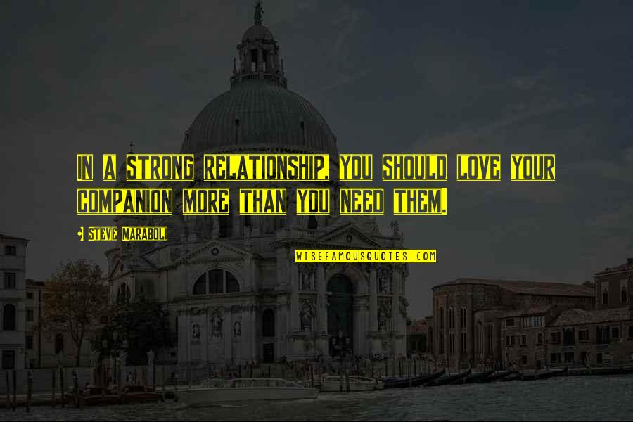 Need More Love Quotes By Steve Maraboli: In a strong relationship, you should love your