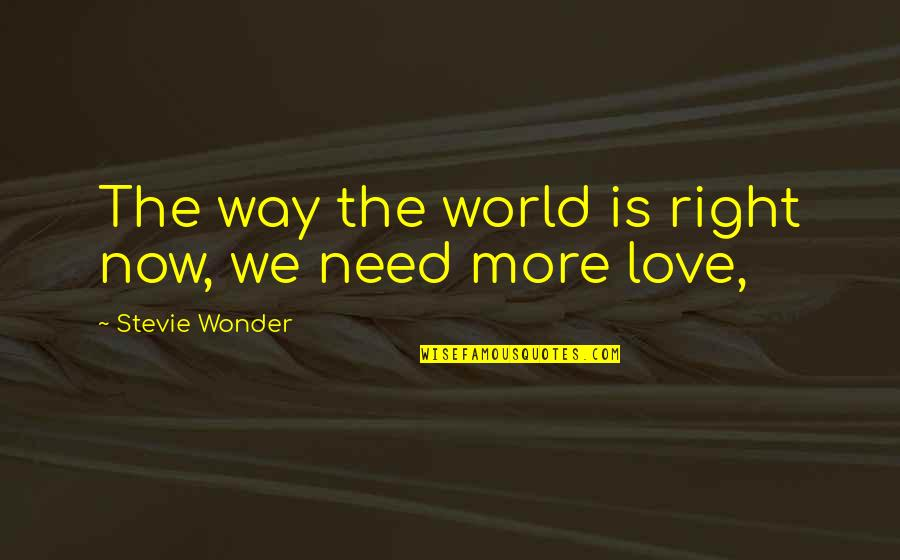 Need More Love Quotes By Stevie Wonder: The way the world is right now, we
