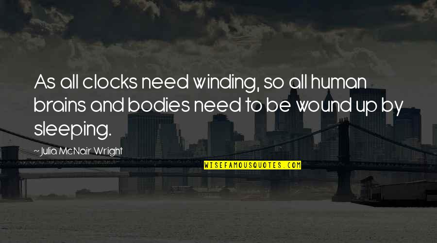 Need More Sleep Quotes By Julia McNair Wright: As all clocks need winding, so all human