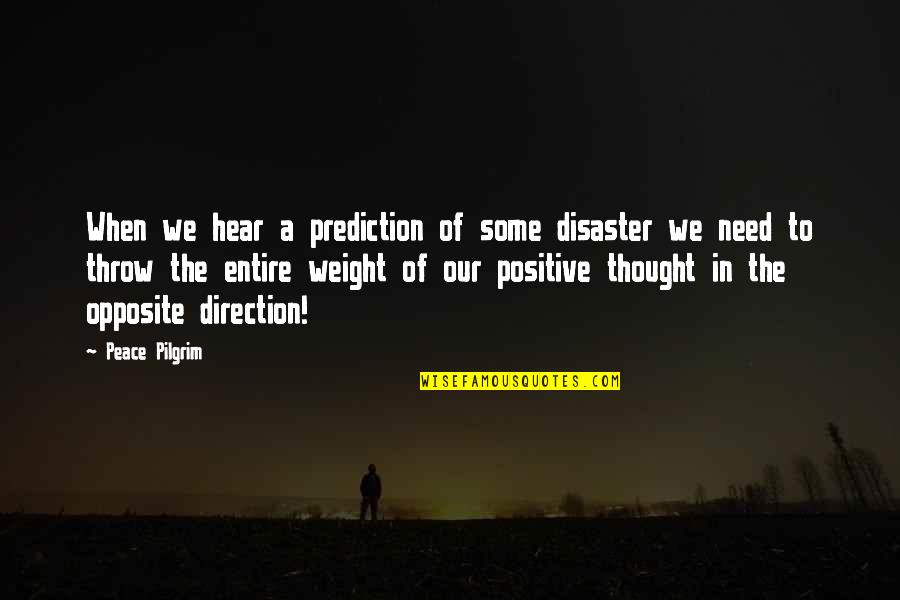 Need Some Peace Quotes By Peace Pilgrim: When we hear a prediction of some disaster