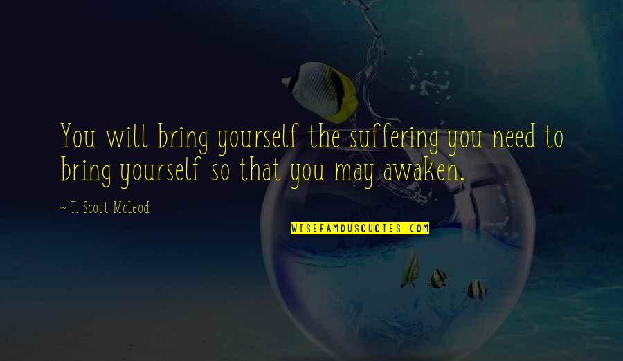 Need Some Peace Quotes By T. Scott McLeod: You will bring yourself the suffering you need