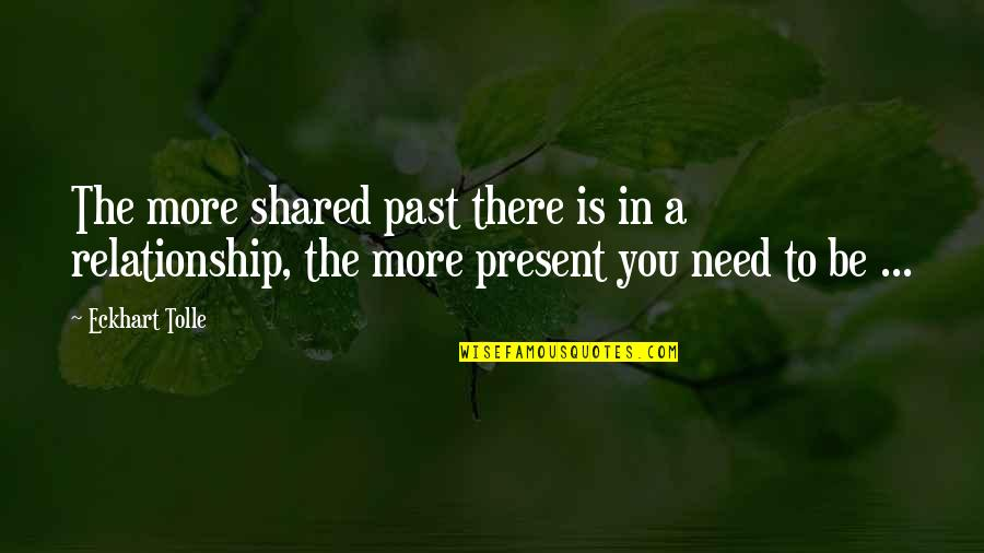 Need You More Quotes By Eckhart Tolle: The more shared past there is in a