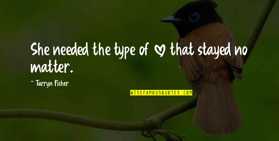 Needed Love Quotes By Tarryn Fisher: She needed the type of love that stayed