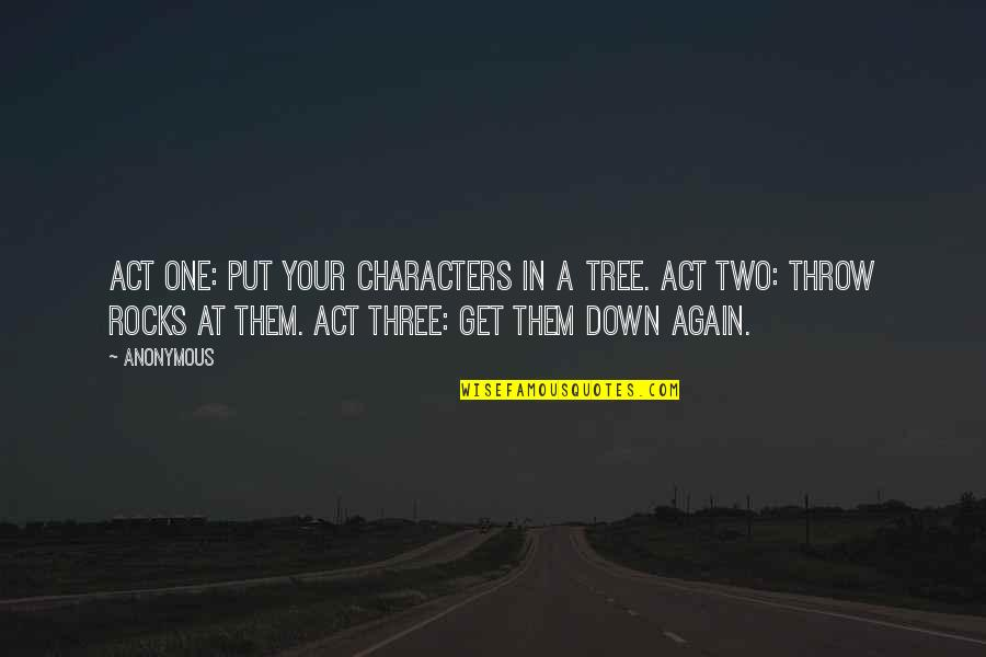 Negan's Quotes By Anonymous: Act one: put your characters in a tree.