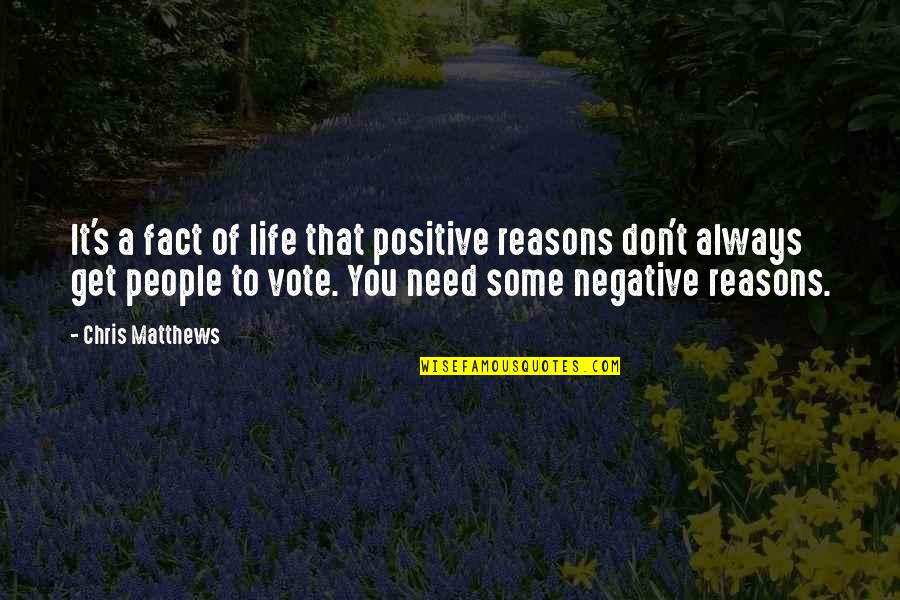 Negative People In Your Life Quotes By Chris Matthews: It's a fact of life that positive reasons