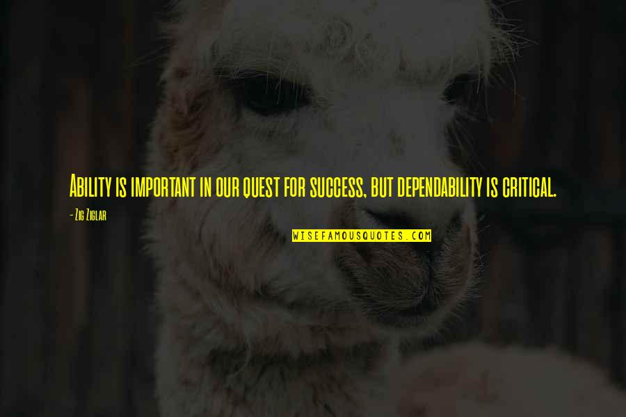 Negative Personality Quotes By Zig Ziglar: Ability is important in our quest for success,