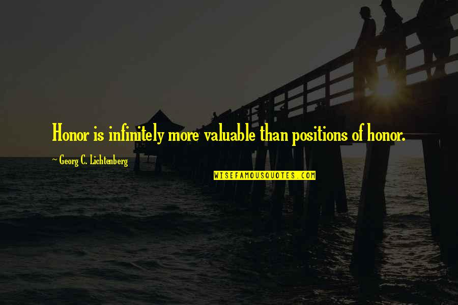 Negative Traits Quotes By Georg C. Lichtenberg: Honor is infinitely more valuable than positions of