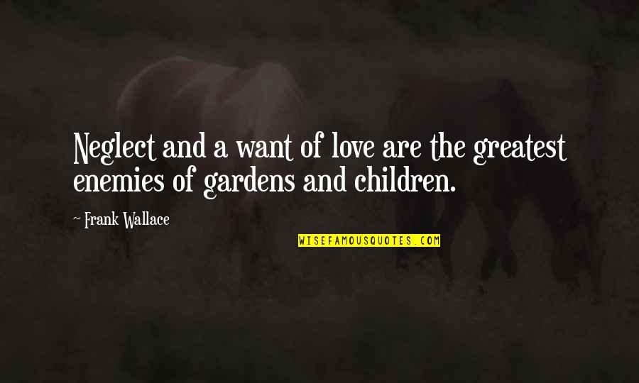 Neglect In Love Quotes By Frank Wallace: Neglect and a want of love are the