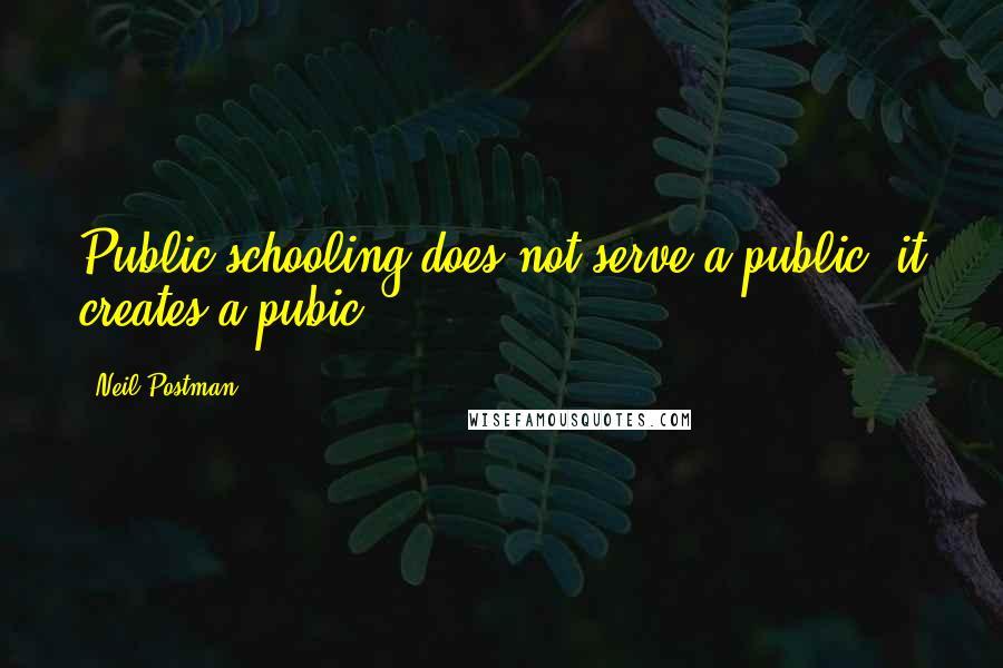Neil Postman quotes: Public schooling does not serve a public; it creates a pubic.