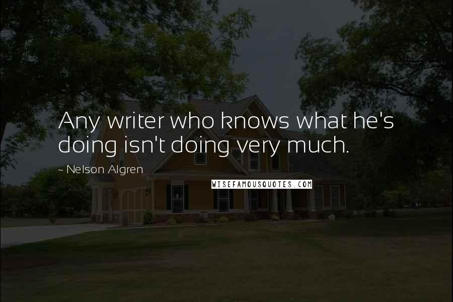 Nelson Algren quotes: Any writer who knows what he's doing isn't doing very much.