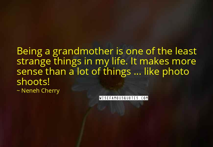 Neneh Cherry quotes: Being a grandmother is one of the least strange things in my life. It makes more sense than a lot of things ... like photo shoots!