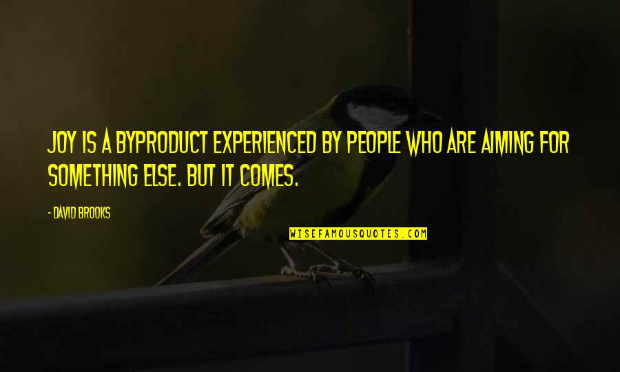Nepal Quake Quotes By David Brooks: Joy is a byproduct experienced by people who