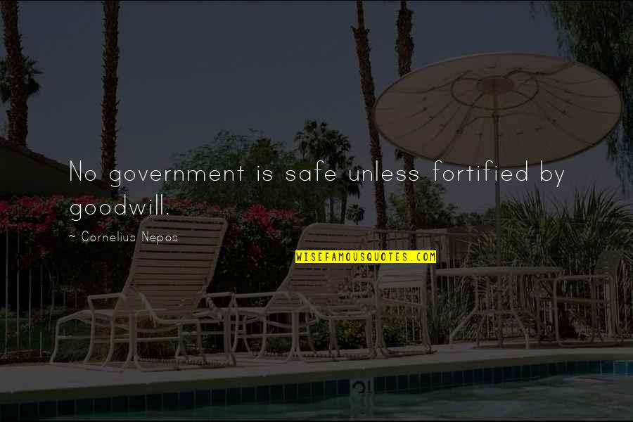 Nepos Quotes By Cornelius Nepos: No government is safe unless fortified by goodwill.