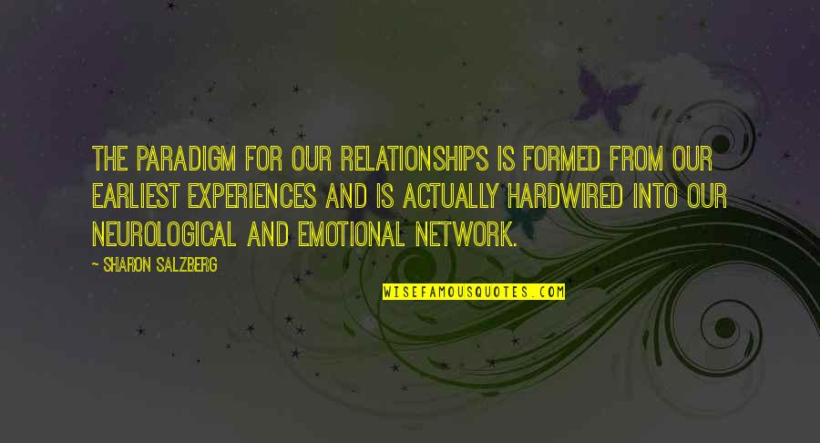 Neurological Quotes By Sharon Salzberg: The paradigm for our relationships is formed from