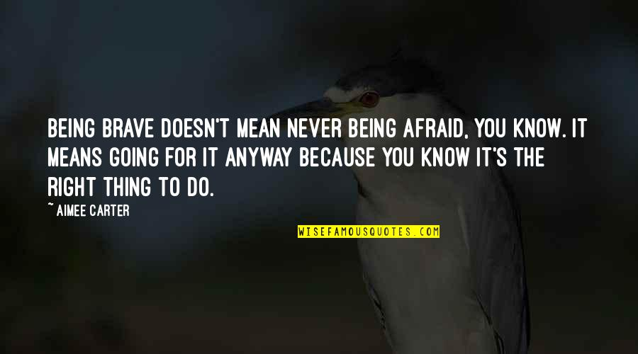 Never Being Right Quotes By Aimee Carter: Being brave doesn't mean never being afraid, you