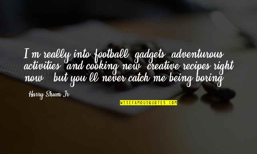 Never Being Right Quotes By Harry Shum Jr.: I'm really into football, gadgets, adventurous activities, and