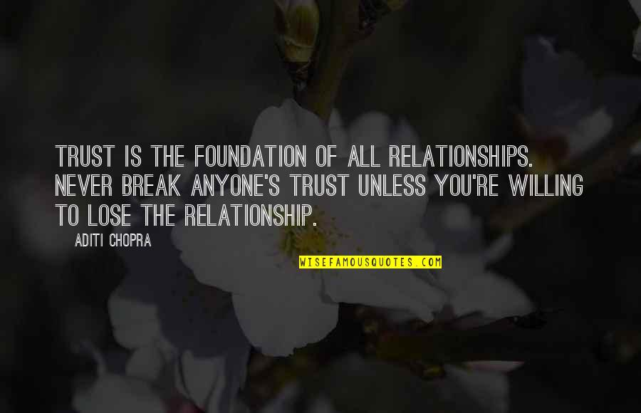 Never Break Trust Quotes By Aditi Chopra: Trust is the foundation of all relationships. Never