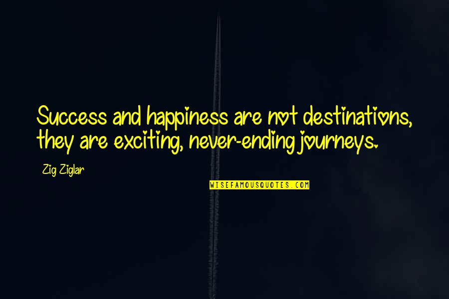 Never Ending Happiness Quotes By Zig Ziglar: Success and happiness are not destinations, they are