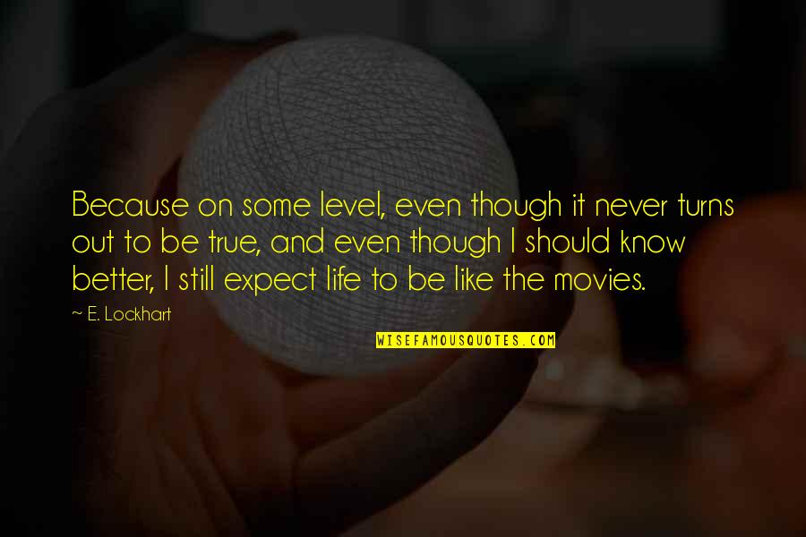 Never Expect Quotes By E. Lockhart: Because on some level, even though it never