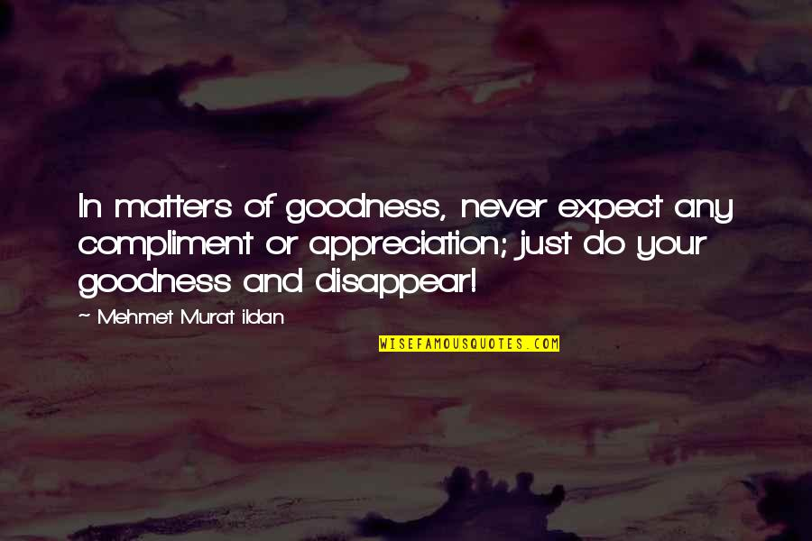 Never Expect Quotes By Mehmet Murat Ildan: In matters of goodness, never expect any compliment