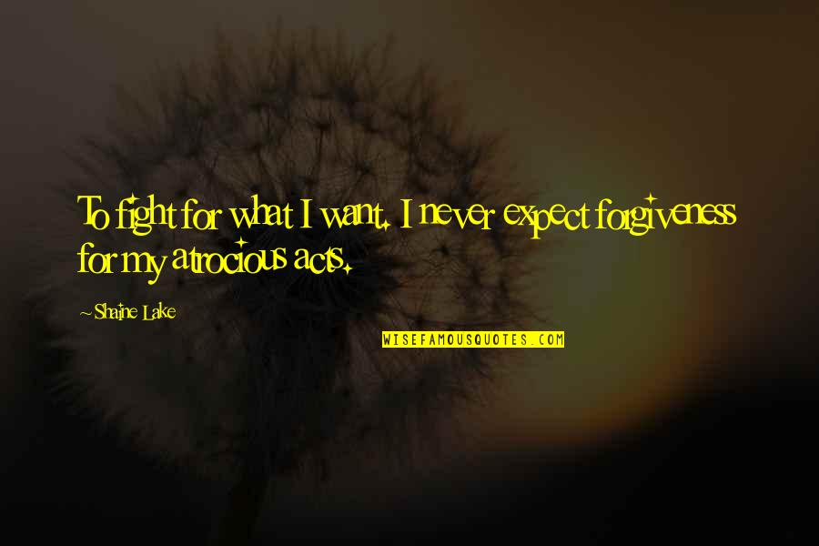 Never Expect Quotes By Shaine Lake: To fight for what I want. I never