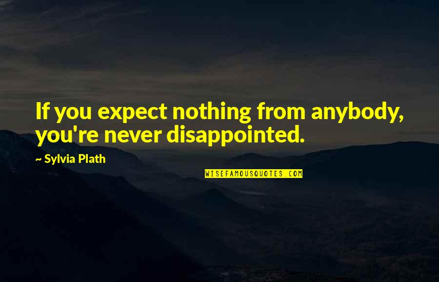 Never Expect Quotes By Sylvia Plath: If you expect nothing from anybody, you're never