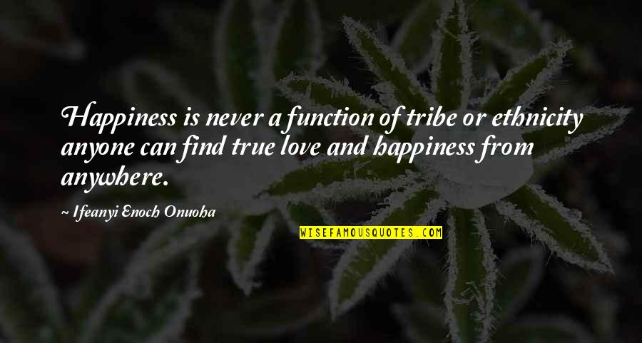 Never Find A Love Like This Quotes By Ifeanyi Enoch Onuoha: Happiness is never a function of tribe or