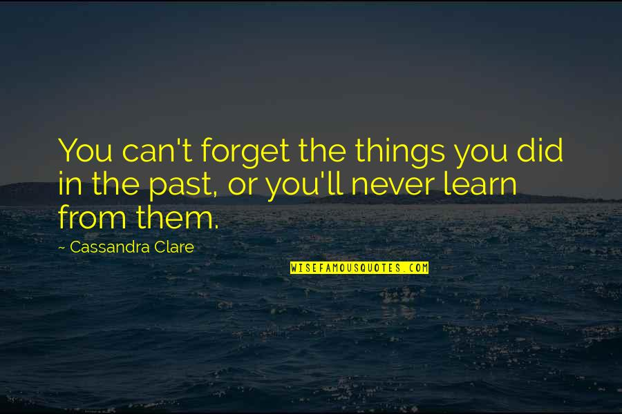 Never Forget You Quotes By Cassandra Clare: You can't forget the things you did in