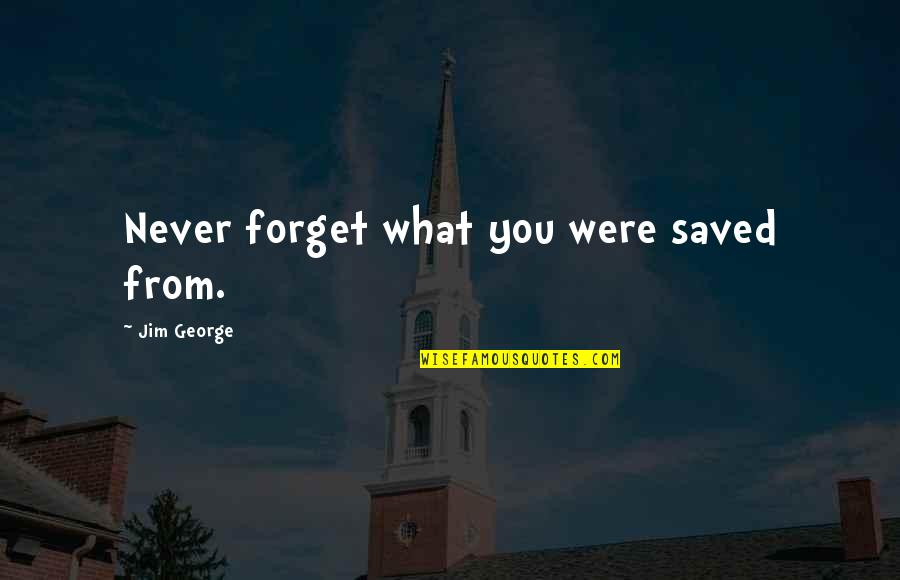 Never Forget You Quotes By Jim George: Never forget what you were saved from.