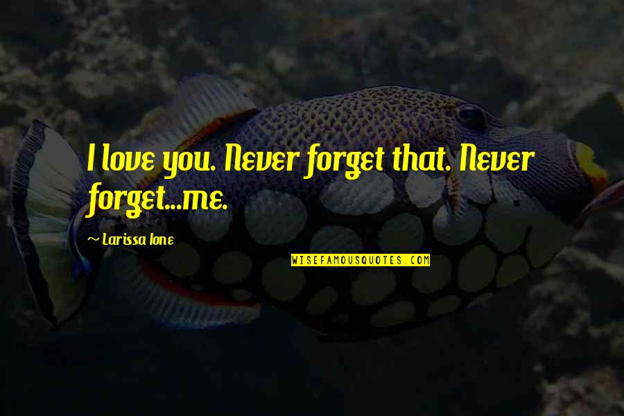 Never Forget You Quotes By Larissa Ione: I love you. Never forget that. Never forget...me.