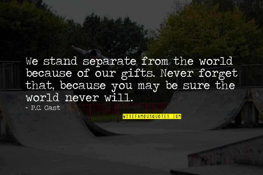 Never Forget You Quotes By P.C. Cast: We stand separate from the world because of