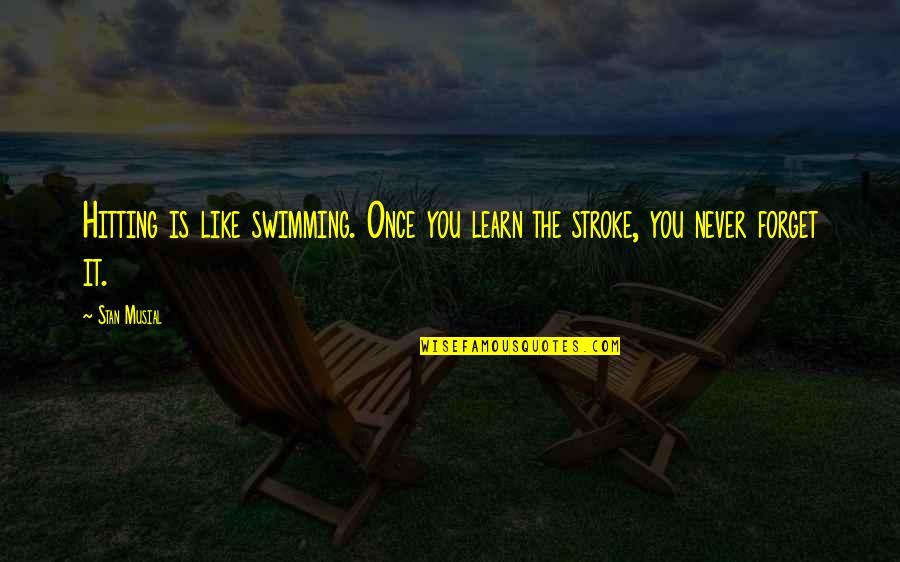 Never Forget You Quotes By Stan Musial: Hitting is like swimming. Once you learn the
