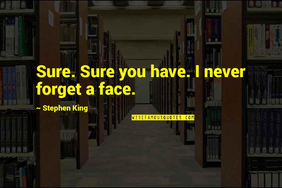 Never Forget You Quotes By Stephen King: Sure. Sure you have. I never forget a