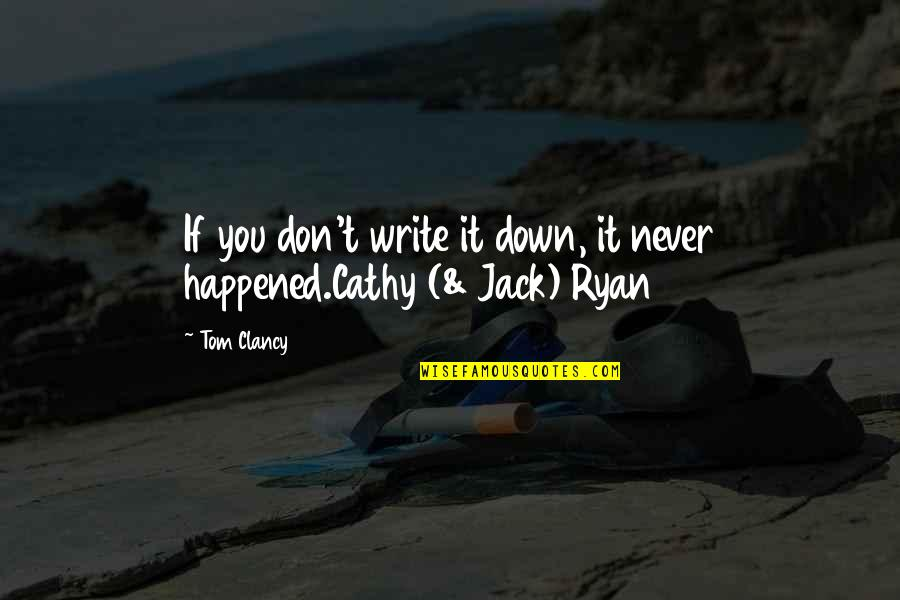 Never Forget You Quotes By Tom Clancy: If you don't write it down, it never