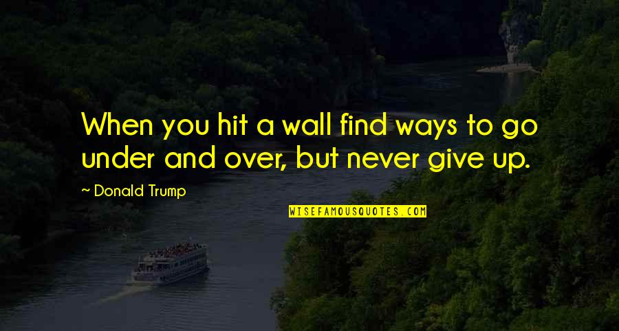 Never Giving Up You Quotes By Donald Trump: When you hit a wall find ways to
