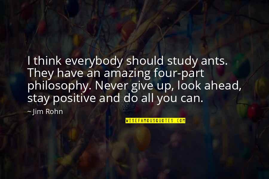 Never Giving Up You Quotes By Jim Rohn: I think everybody should study ants. They have