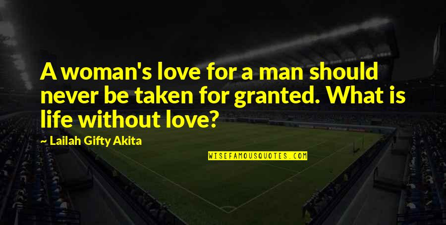 Never Granted Quotes By Lailah Gifty Akita: A woman's love for a man should never