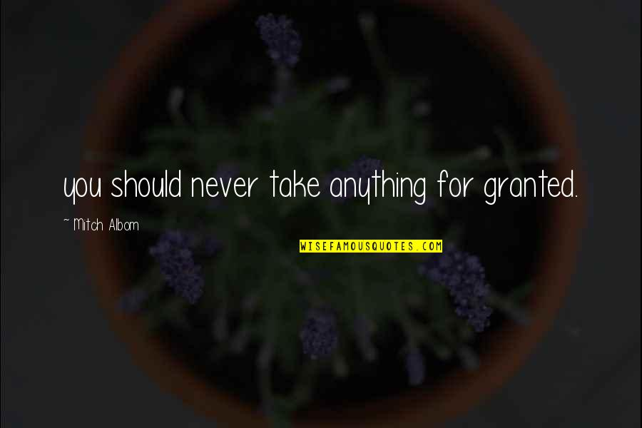 Never Granted Quotes By Mitch Albom: you should never take anything for granted.