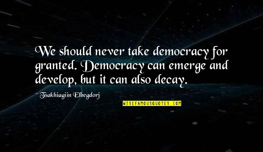 Never Granted Quotes By Tsakhiagiin Elbegdorj: We should never take democracy for granted. Democracy