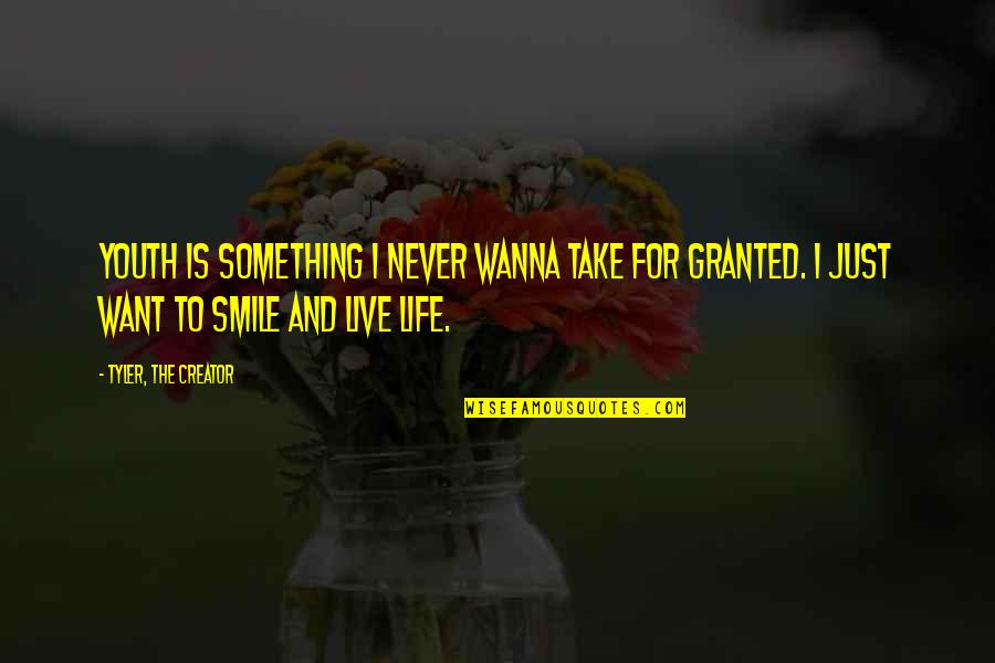 Never Granted Quotes By Tyler, The Creator: Youth is something I never wanna take for