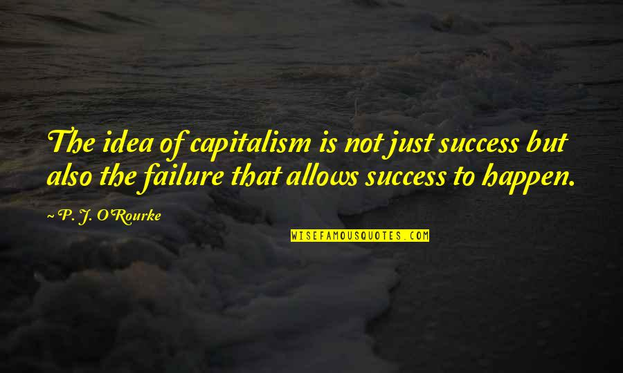 Never Growing Up Disney Quotes By P. J. O'Rourke: The idea of capitalism is not just success
